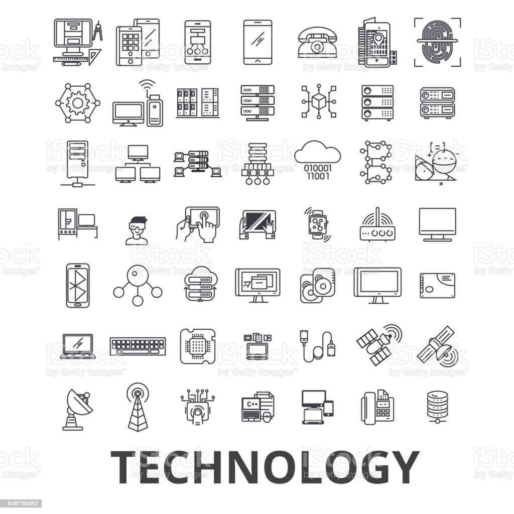 Technology, computer, it, innovation, science, information, cloud network line icons. Editable strokes. Flat design vector illustration symbol concept. Linear signs isolated - illustrazione arte vettoriale
