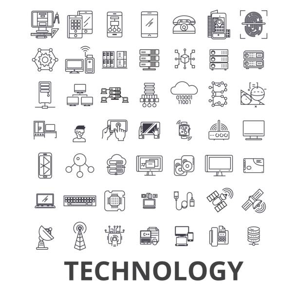 technology, computer, it, innovation, science, information, cloud network line icons. editable strokes. flat design vector illustration symbol concept. linear signs isolated - technology icons stock illustrations, clip art, cartoons, & icons