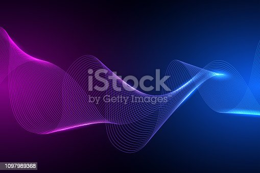 Technology concept. Future cyber technology web services for business and internet project. Geometric abstract background .Colored dynamic waves on a dark background. Vector Illustration