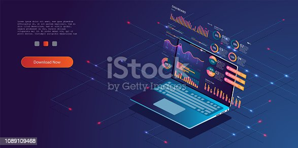 Technology concept. Update database statistics. Workflow and business management.  isometric