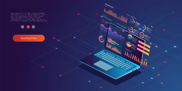 technology concept. update database statistics. workflow and business management. - research infographics stock illustrations
