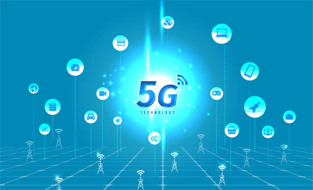 5G Technology concept with digital background. vector art illustration