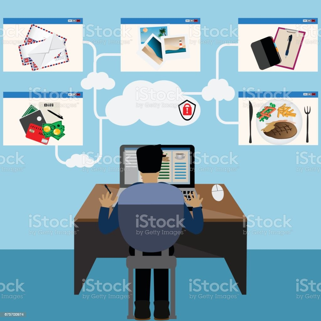 Technology concept,Cloud computing and information from big data makes human life very easy - vector illustration royalty-free technology conceptcloud computing and information from big data makes human life very easy vector illustration stock vector art & more images of abstract