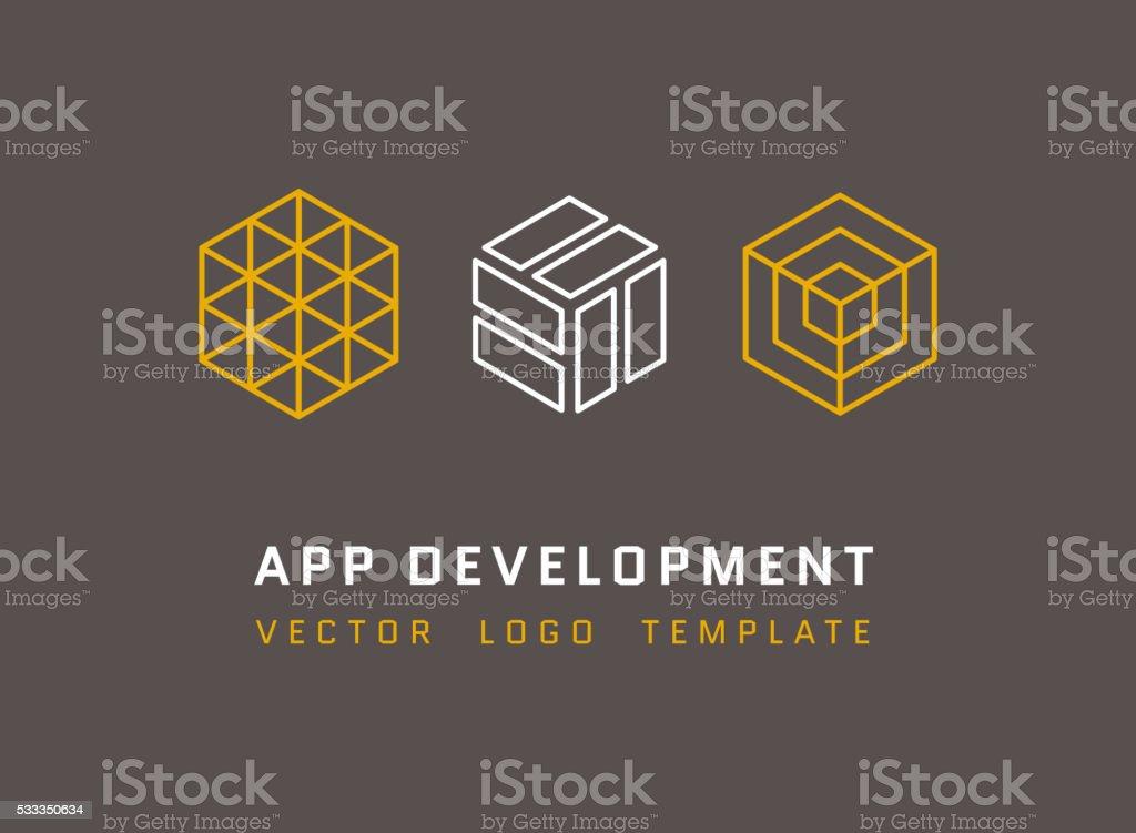 tecnologia sviluppo architettura gioco studio vettoriale loghi set
