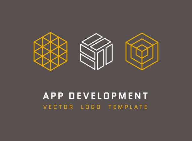 technology, development, architecture, game studio vector logos set - architecture symbols stock illustrations