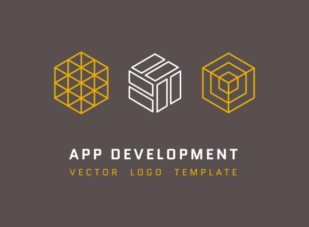 ilustraciones, imágenes clip art, dibujos animados e iconos de stock de la tecnología, desarrollo, arquitectura, juego de vector de estudio conjunto de logotipos - íconos 3d