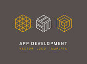 Technology, development, architecture, game studio vector logos set