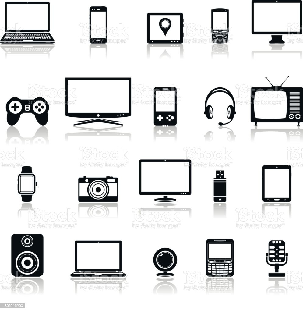 Technology devices and multimedia gadgets icons with reflection vector art illustration