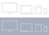Vector Technology Devices, Computer Monitor, TV, Laptop, Tablet, Smartphone Icon Set