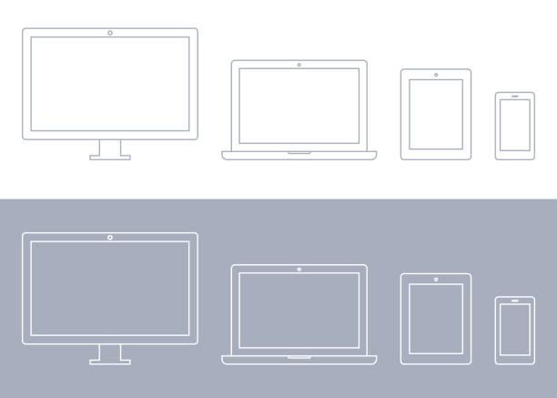 urządzenia technologiczne, monitor komputera, telewizor, laptop, tablet, zestaw ikon smartfona - laptop stock illustrations