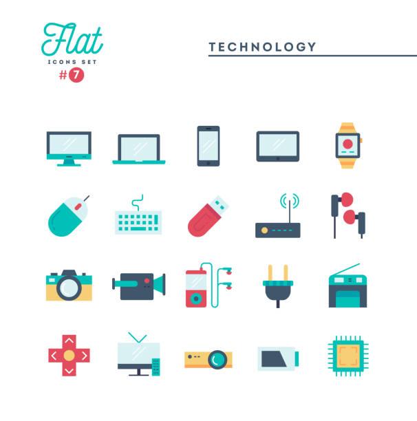 技術、機器、ガジェット、詳細、フラット アイコンを設定 - ゲーム ヘッドフォン点のイラスト素材/クリップアート素材/マンガ素材/アイコン素材