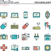 Technology, devices, gadgets and more, thin line color icons set