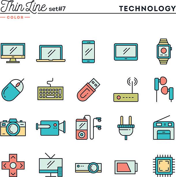 technologie, geräte, spielereien und vielem mehr, dünne linie-icons satz farben - farbchips stock-grafiken, -clipart, -cartoons und -symbole