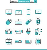 Technology, devices, gadgets and more. Plain and line icons set, flat design, vector illustration