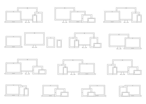 Technology Devices; Laptop, Computer Monitor, TV, Tablet, Smartphone Wireframe Icon Sets Vector Technology Devices; Laptop, Computer Monitor, TV, Tablet, Smartphone Wireframe Icon Sets website wireframe stock illustrations