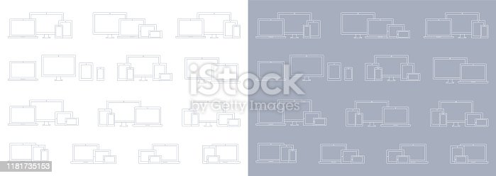 Vector Technology Devices; Laptop, Computer Monitor, TV, Tablet, Smartphone Wireframe Icon Sets
