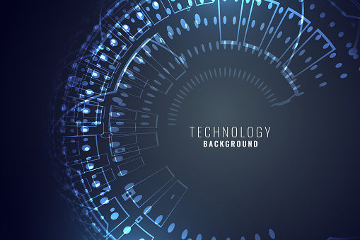 technology digital background with circular mesh circuit diagram stock  vector art & more images of abstract - istock