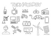 Technology elements hand drawn set.