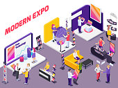 Modern innovative technology products exhibition show promotion stands with visitors assistants potential buyers isometric composition vector illustration