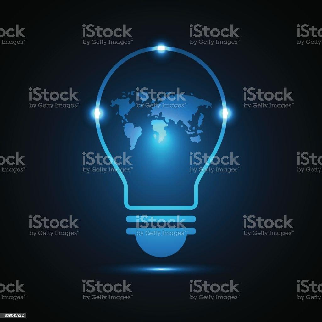 technologie mondiale future carte ampoule - Illustration vectorielle