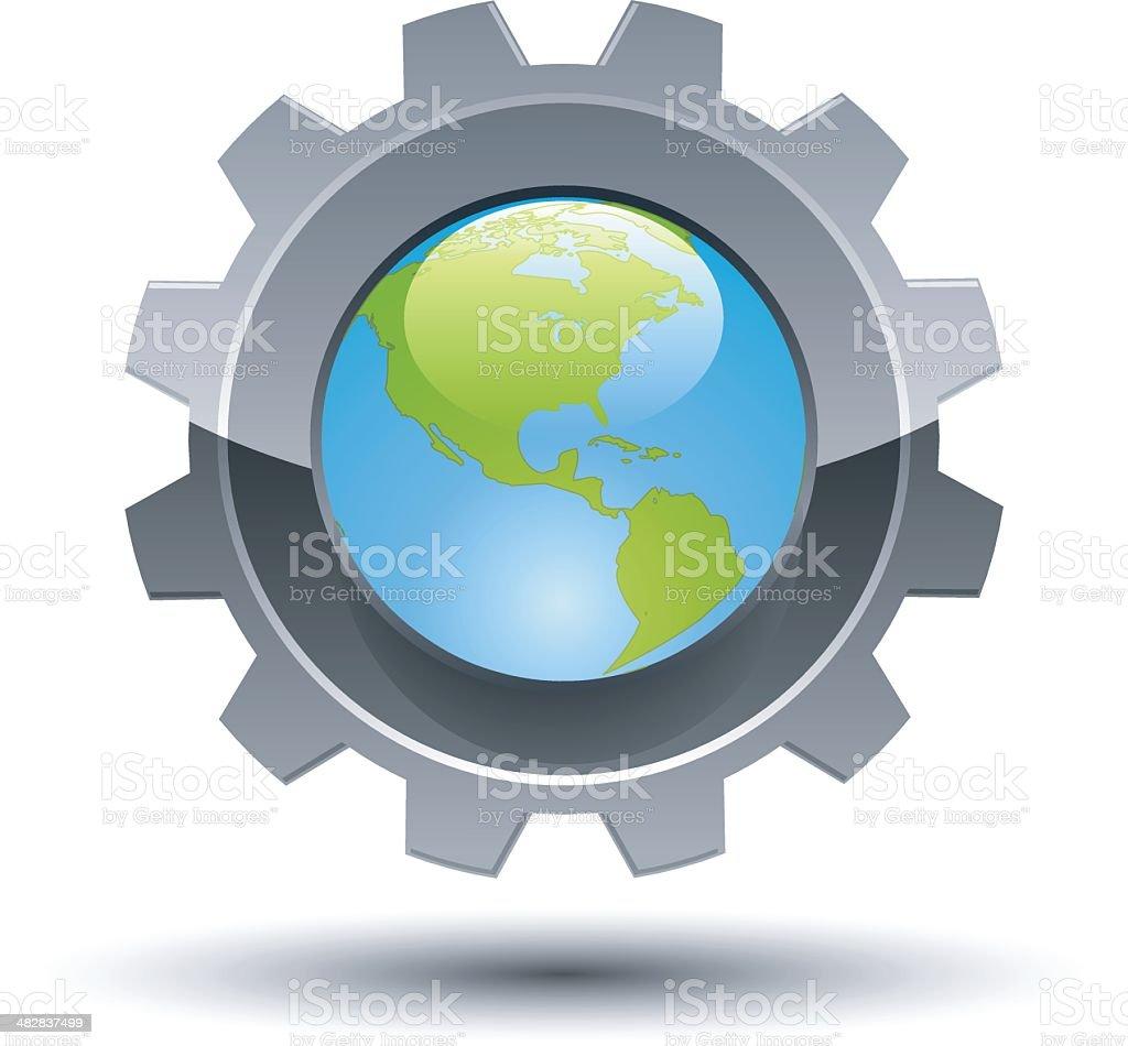Technology Globe vector art illustration