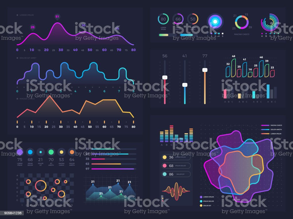 Technology graphics and diagram with options and workflow charts. Vector presentation infographic elements vector art illustration