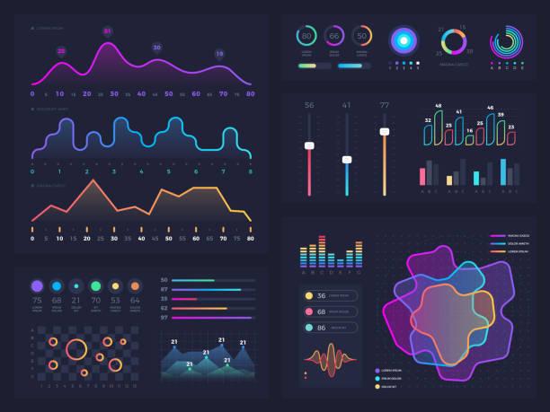 illustrations, cliparts, dessins animés et icônes de technologie graphique et diagramme avec des options et des diagrammes de flux de travail. éléments de vecteur présentation infographique - infographie visualisation de données