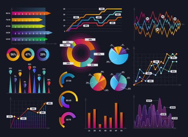 bildbanksillustrationer, clip art samt tecknat material och ikoner med teknik grafik och diagram med alternativ och arbetsflöde diagram. presentation infographic vektorelement. digital skärm grafik och virtuellt gränssnitt diagram illustration - medicinsk journal