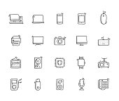 Technology Hand Draw Line Icon Set