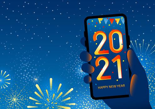 Technology Happy New Year - 2021 celebration on smartphone