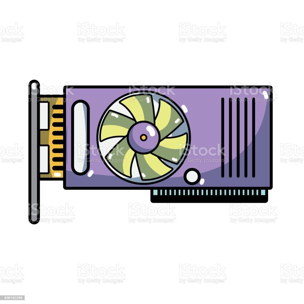 technology hard drive fan processor vector art illustration