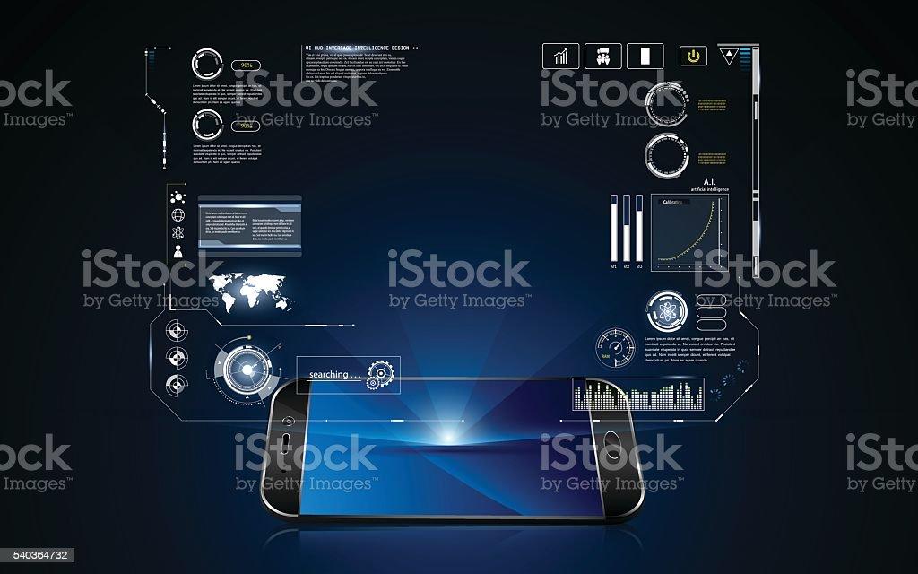 technology hologram hud interface on mobile telephone innovation vector art illustration