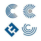 Technology icon letter C for your best business symbol. Set letter C for technology symbol. Vector illustration EPS.8 EPS.10