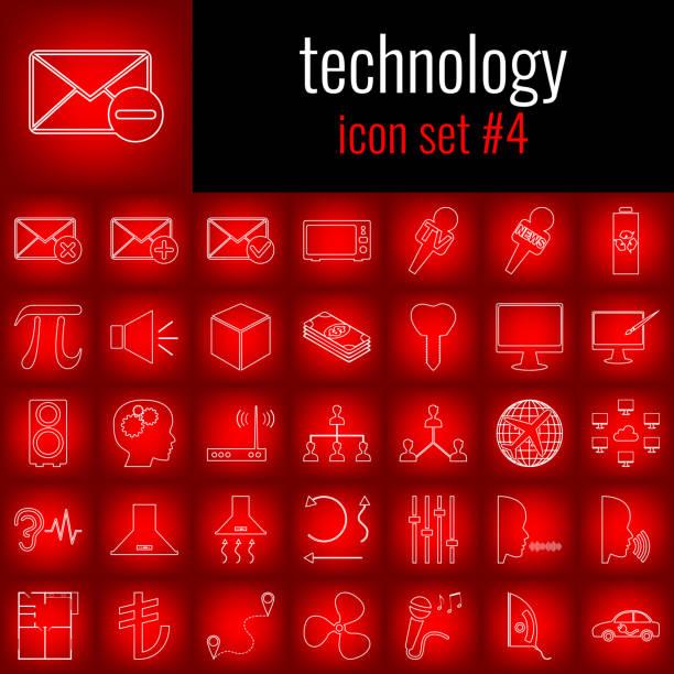 illustrations, cliparts, dessins animés et icônes de technologie. 4 jeu d'icônes. icône de la ligne blanche sur backgrpund dégradé rouge. - twerk