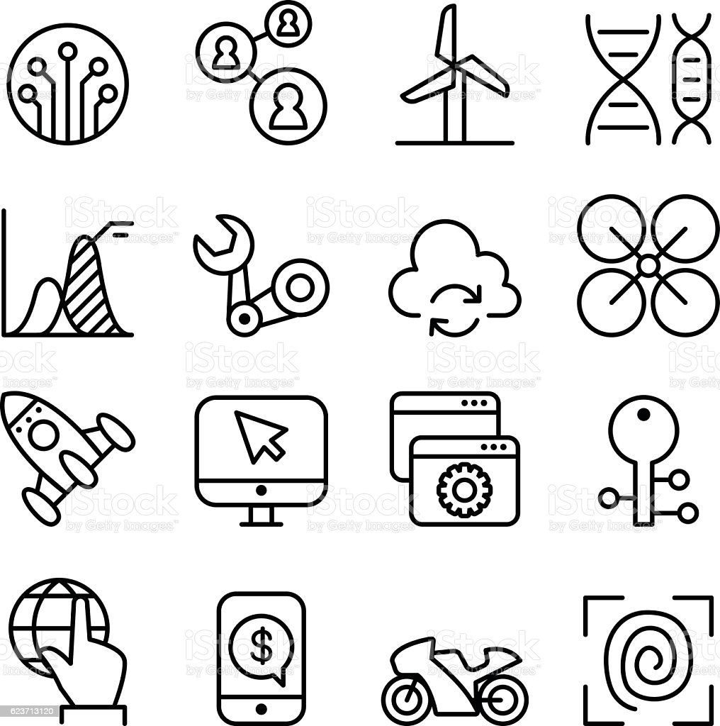 Technology icon set in thin line style vector art illustration