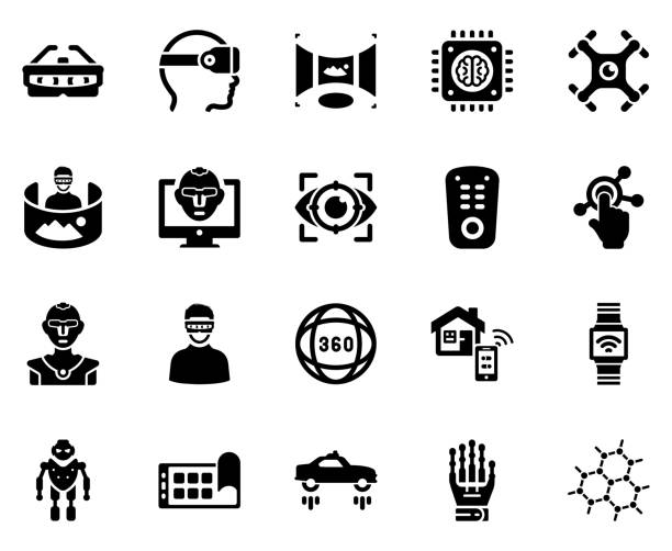 Technology Icon Set - (Black Series) This icon use for website presentation and android app vr stock illustrations