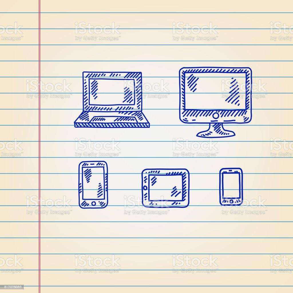 Ilustración de Technology Icons Drawing On Ruled Paper y más