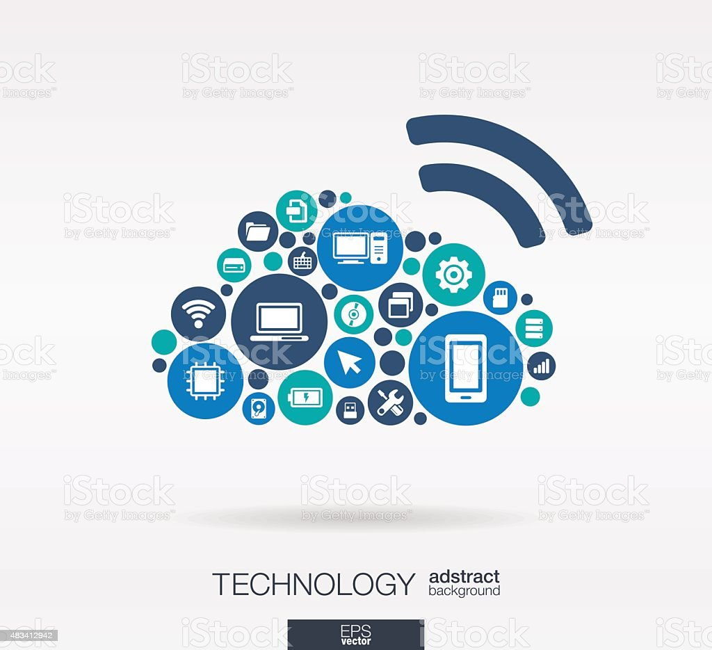 Technology Icons In Cloud Computing Shape Abstract ...