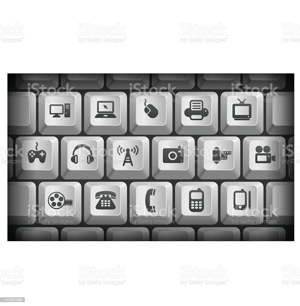 Technology Icons on Gray Computer Keyboard Buttons royalty-free stock vector art