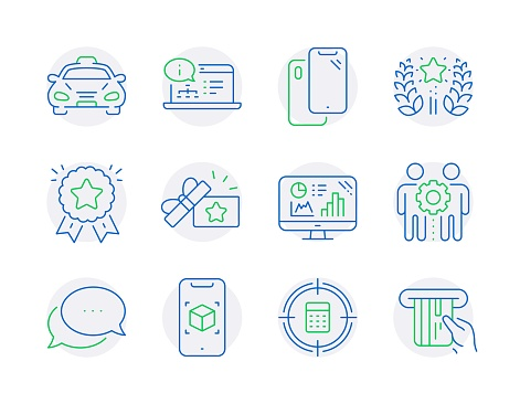 Technology icons set. Included icon as Taxi, Employees teamwork, Calculator target signs. Vector
