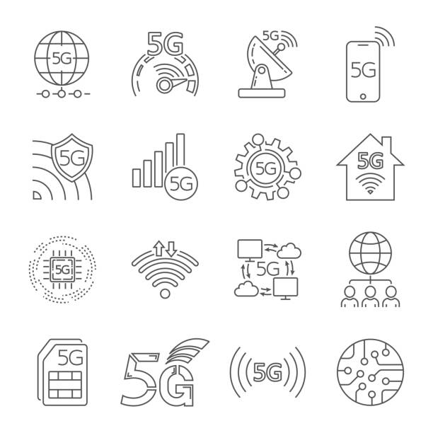 5G technology icons set. Outline set of 5G technology vector icons for web design isolated on white background. Editable Stroke. EPS 10. vector art illustration
