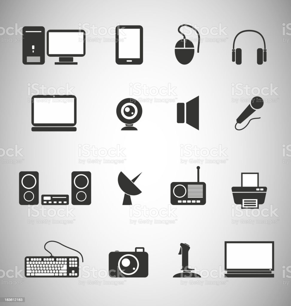 Technology icons royalty-free stock vector art