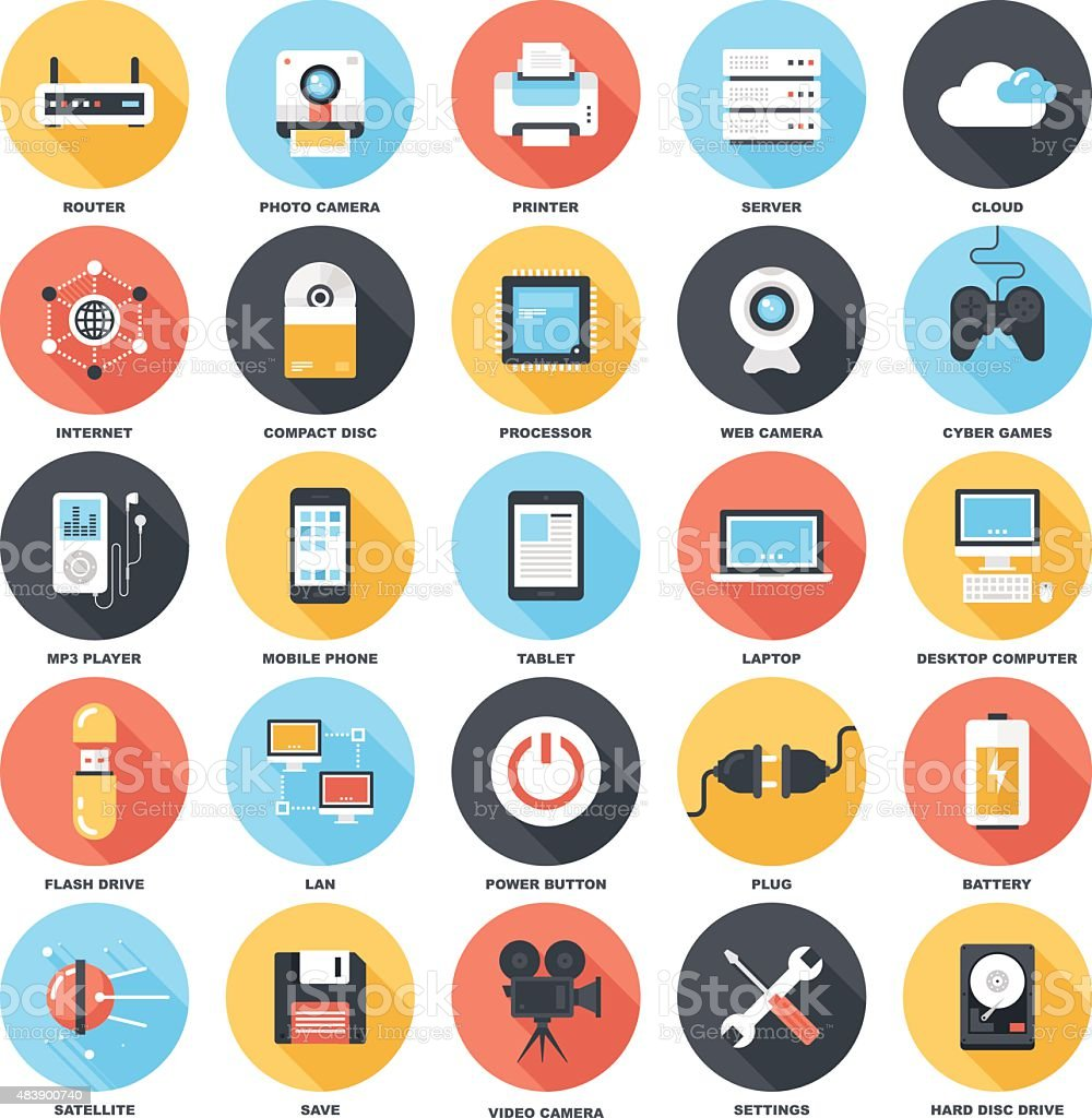 Technology icons vector art illustration