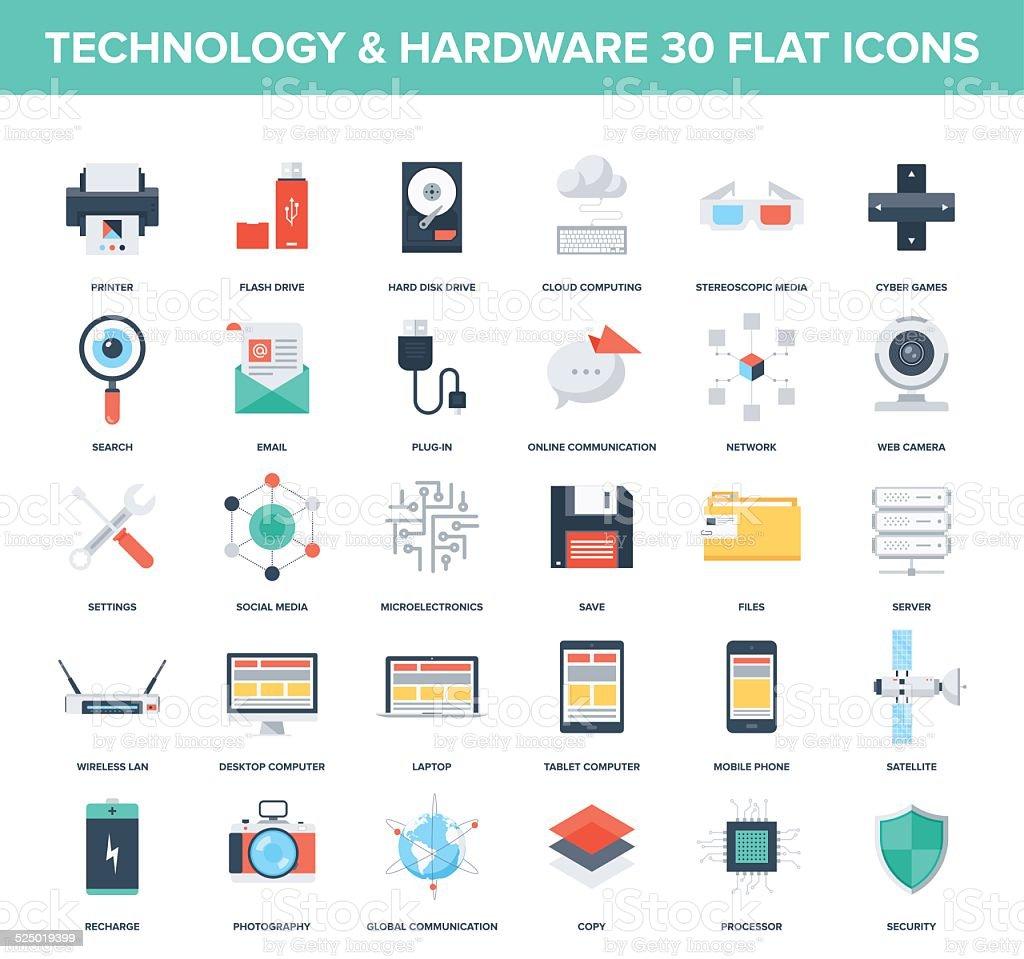 Technology icons vector art illustration