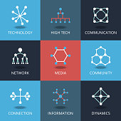Technology icons. Vector signs for tech and connection, network communication