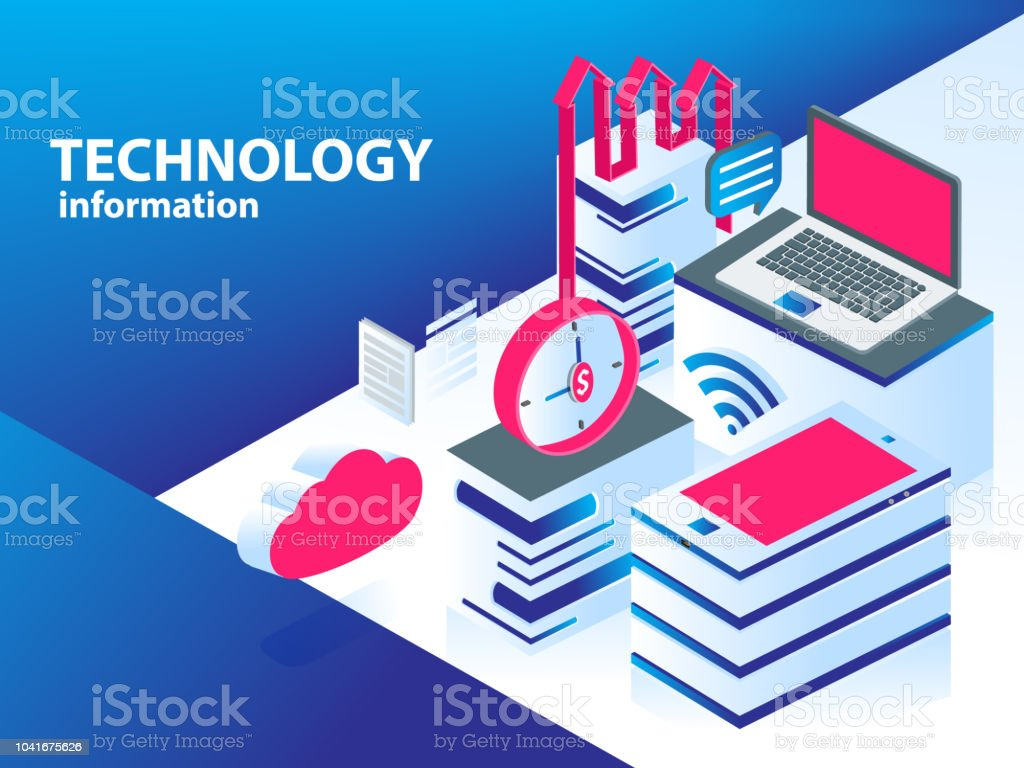 technology information with modern device stock vector art more