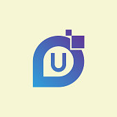 technology initial Letter U icon design