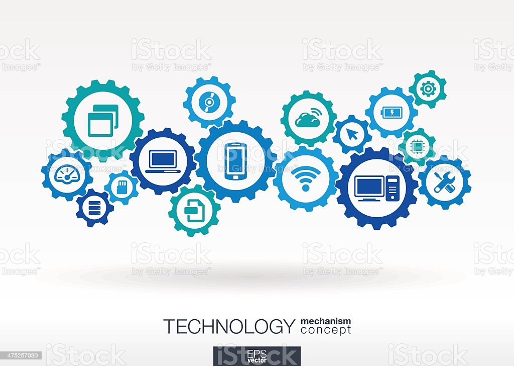 Technology integrated icons set. Vector gear mechanism connection concept illustration vector art illustration
