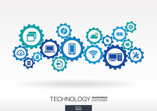 technology integrated icons set. vector gear mechanism connection concept illustration - industry infographics stock illustrations