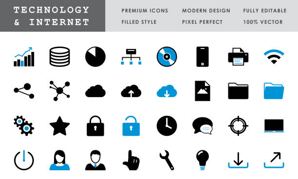 Technology & Internet - Bold Pixel Perfect Vector Icons vector art illustration